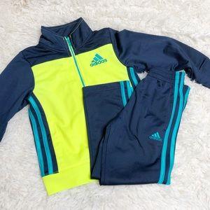 Adidas jacket pants set blue yellow track soccer
